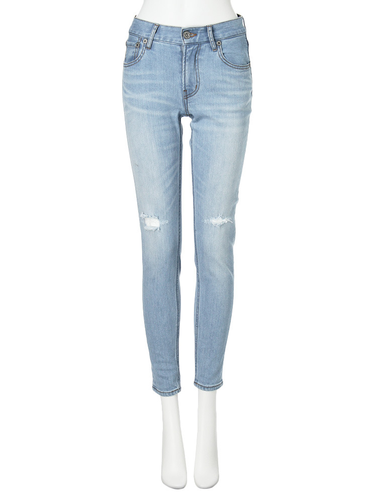 【CASUAL】hybrid crash skinny denim パンツ(アイスブルー-0)