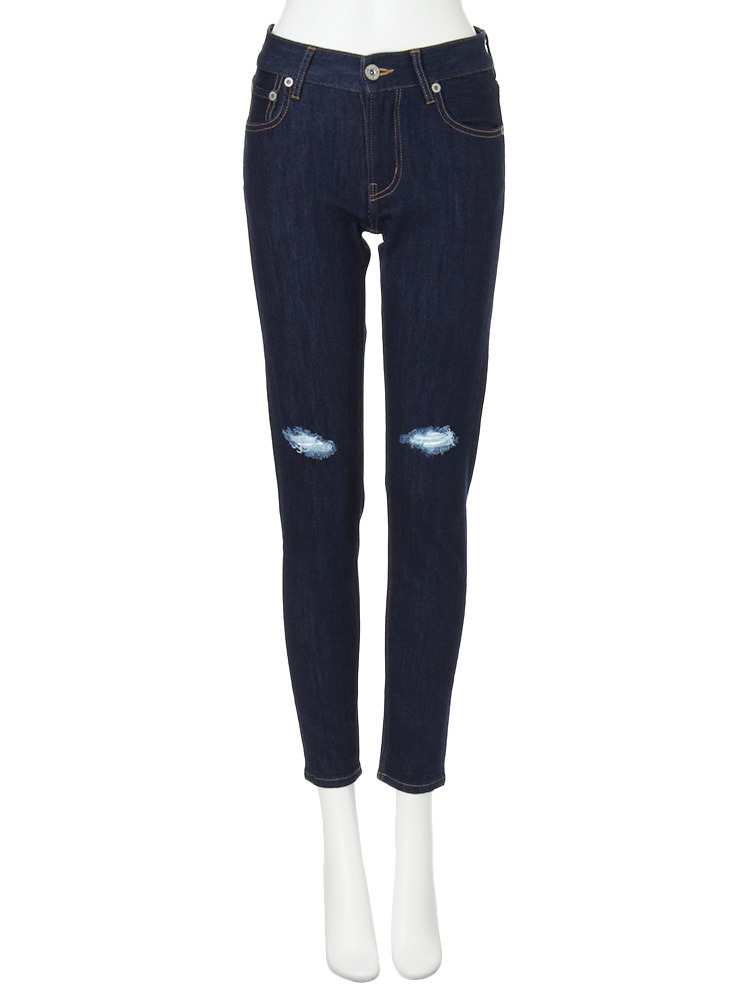 【CASUAL】hybrid crash skinny denim パンツ(インディゴ-0)
