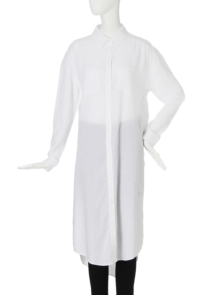 【CASUAL】サイドスリットロングシャツ(ホワイト-F)