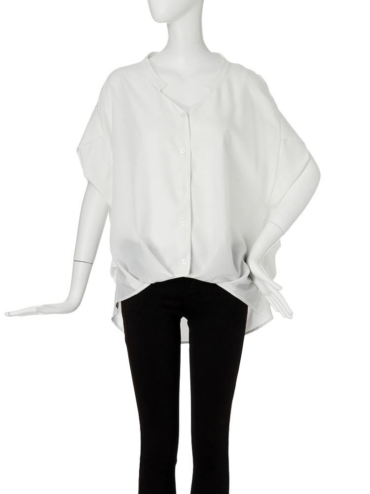 【MODE】ヘムバルーンデコルテシャツ(ホワイト-F)