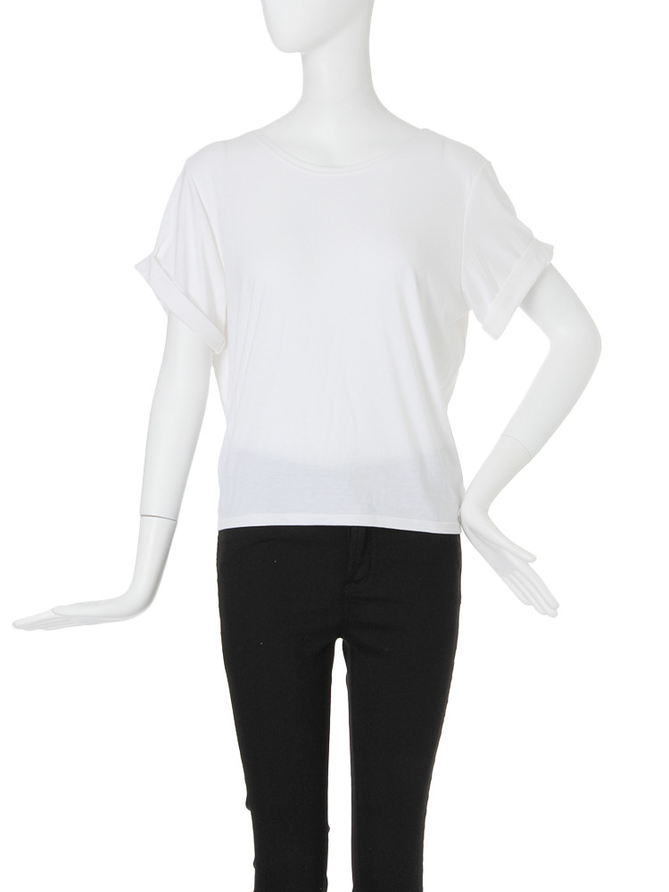 【FEMININE】バックドレープTシャツ(ホワイト-F)