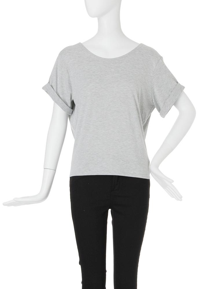 【FEMININE】バックドレープTシャツ(グレー-F)