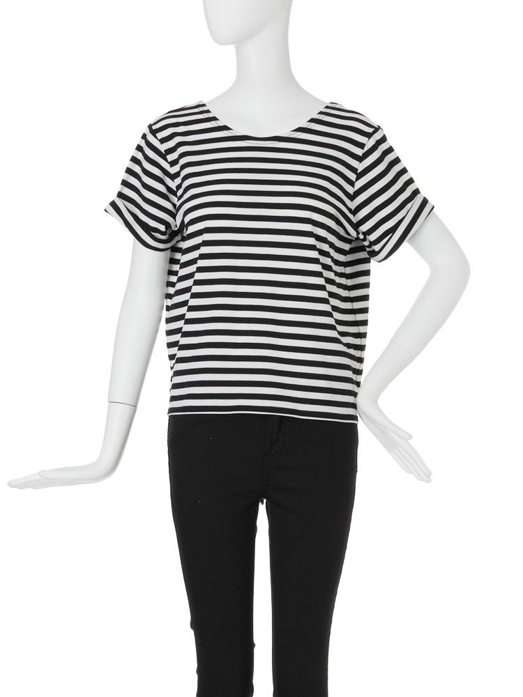 【FEMININE】バックドレープTシャツ(ミックス-F)