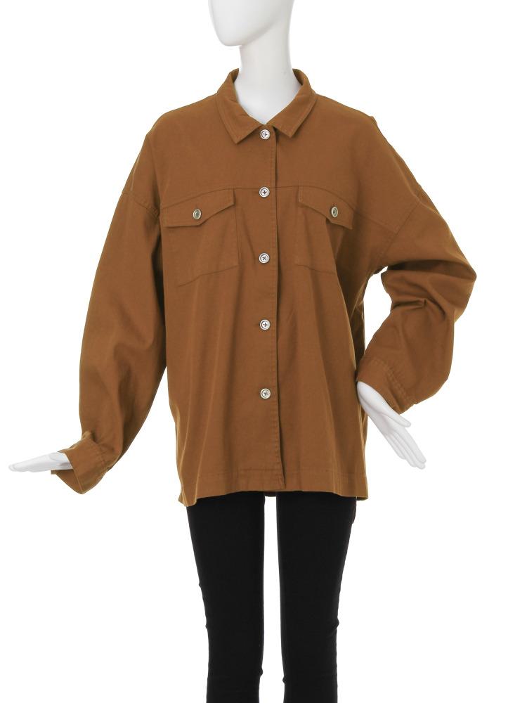 ルーズミリタリーシャツ(ブラウン-F)