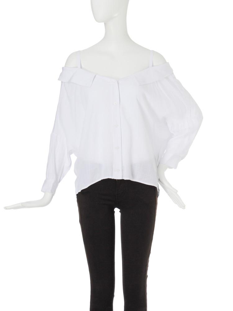 【EDGE】ボタンアップオフショルシャツ(ホワイト-F)