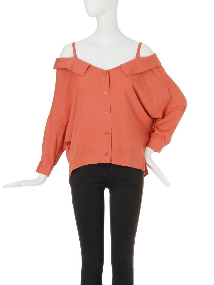 【EDGE】ボタンアップオフショルシャツ(オレンジ-F)