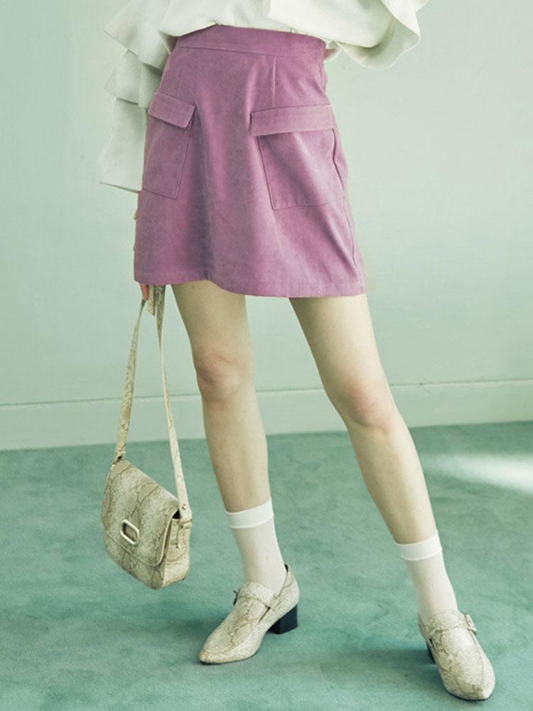 【2017年春新作】フロントポケット台形スカート