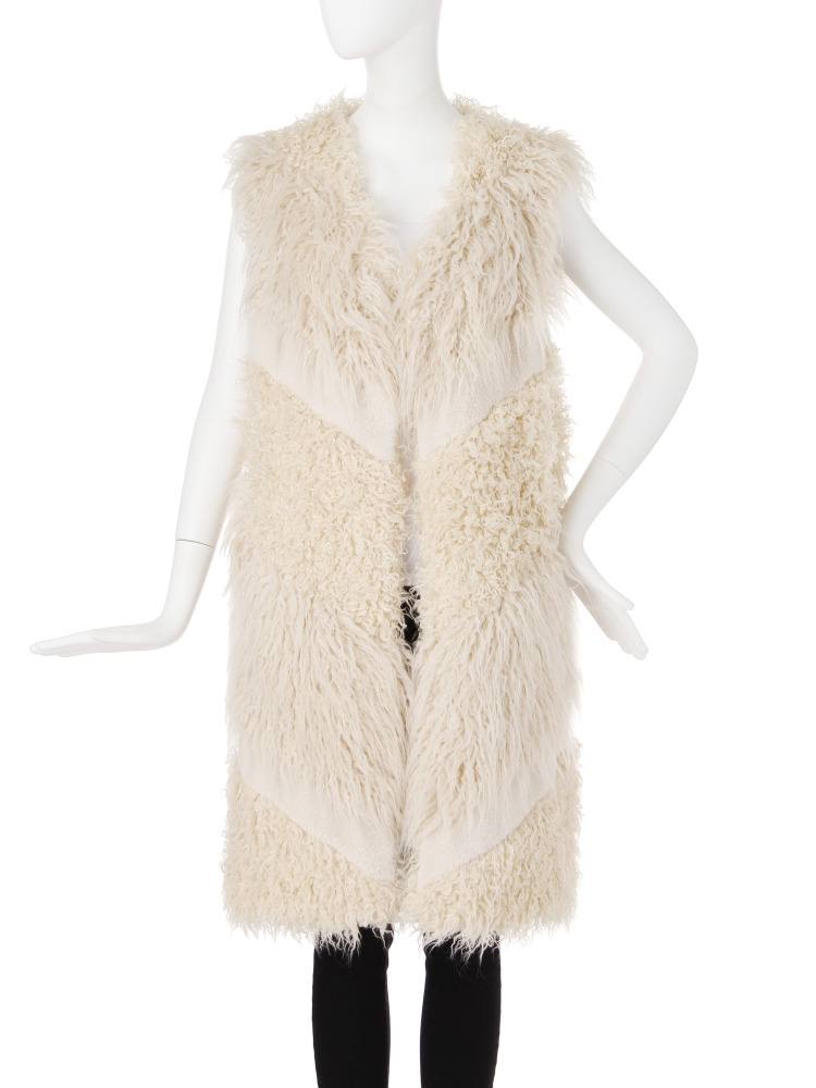 MIX FAKE FUR VEST(アイボリー-F)