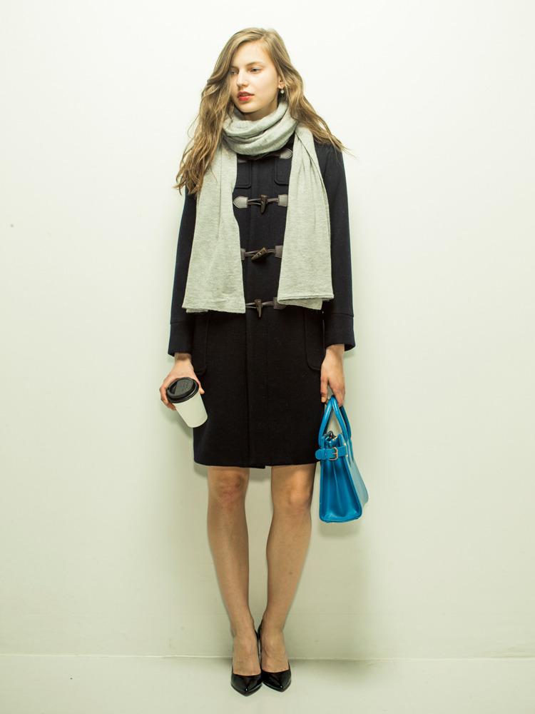 【moi】long duffle coat(ネイビー-S)