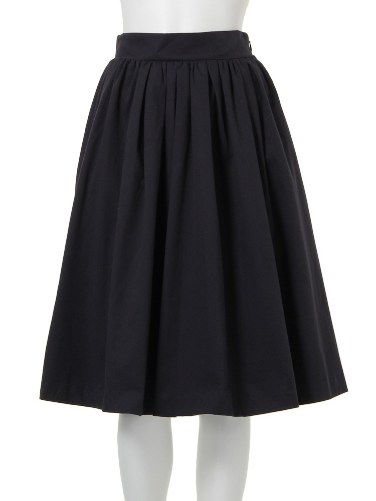 【W】フレア膝丈スカート(ネイビー-S)
