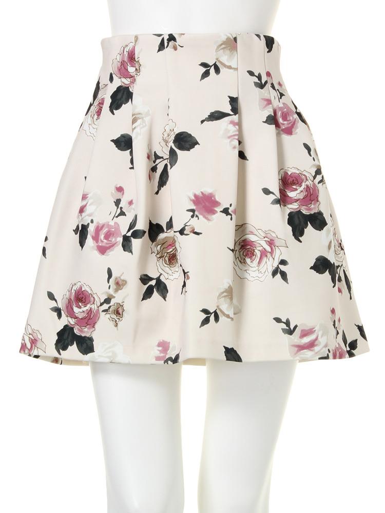 【dazzlin】ローズ柄ボンディングスカート(アイボリー-S)