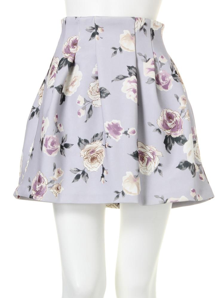 【dazzlin】ローズ柄ボンディングスカート(ブルー-M)