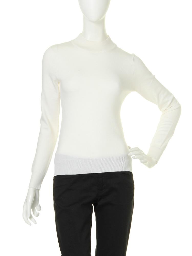 【moi】high neck knit tops(ホワイト-F)