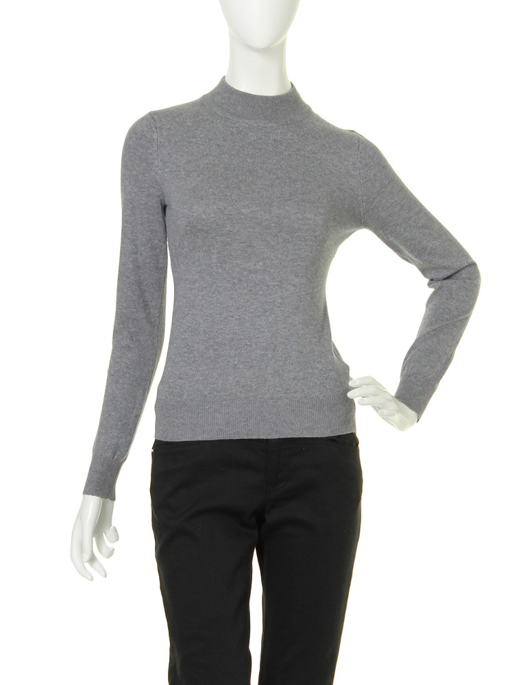 【moi】high neck knit tops(グレー-F)