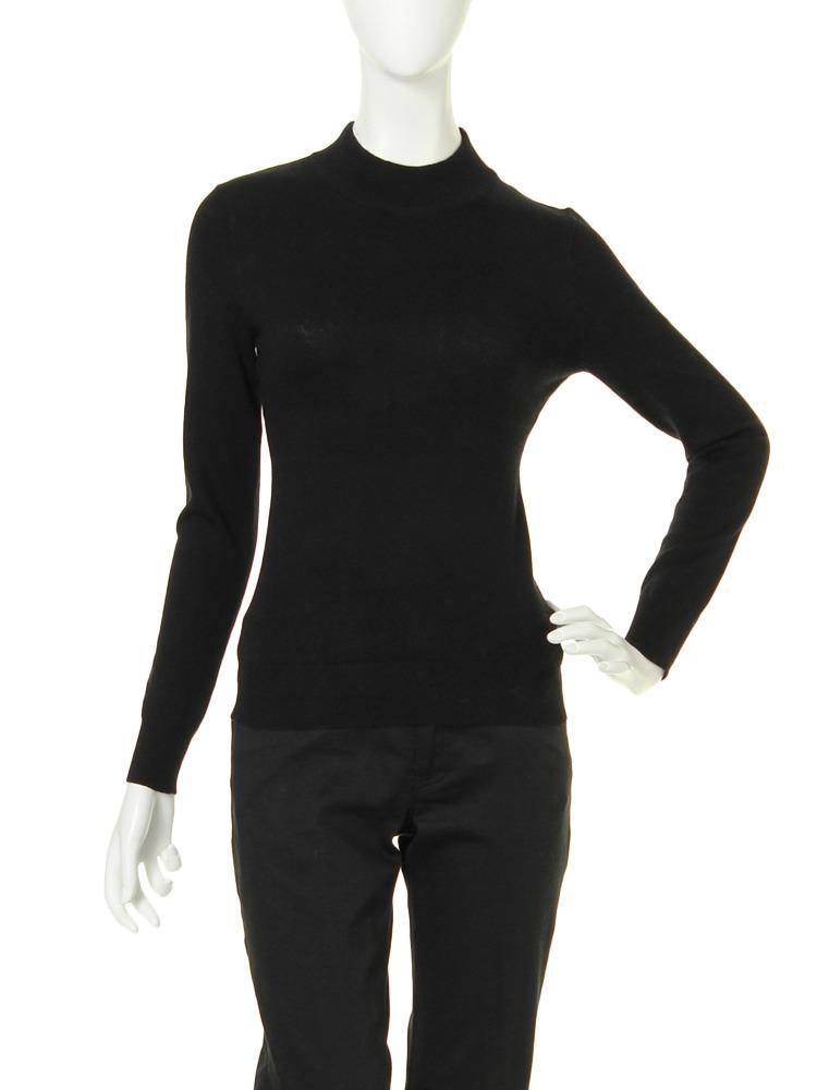 【moi】high neck knit tops(ブラック-F)