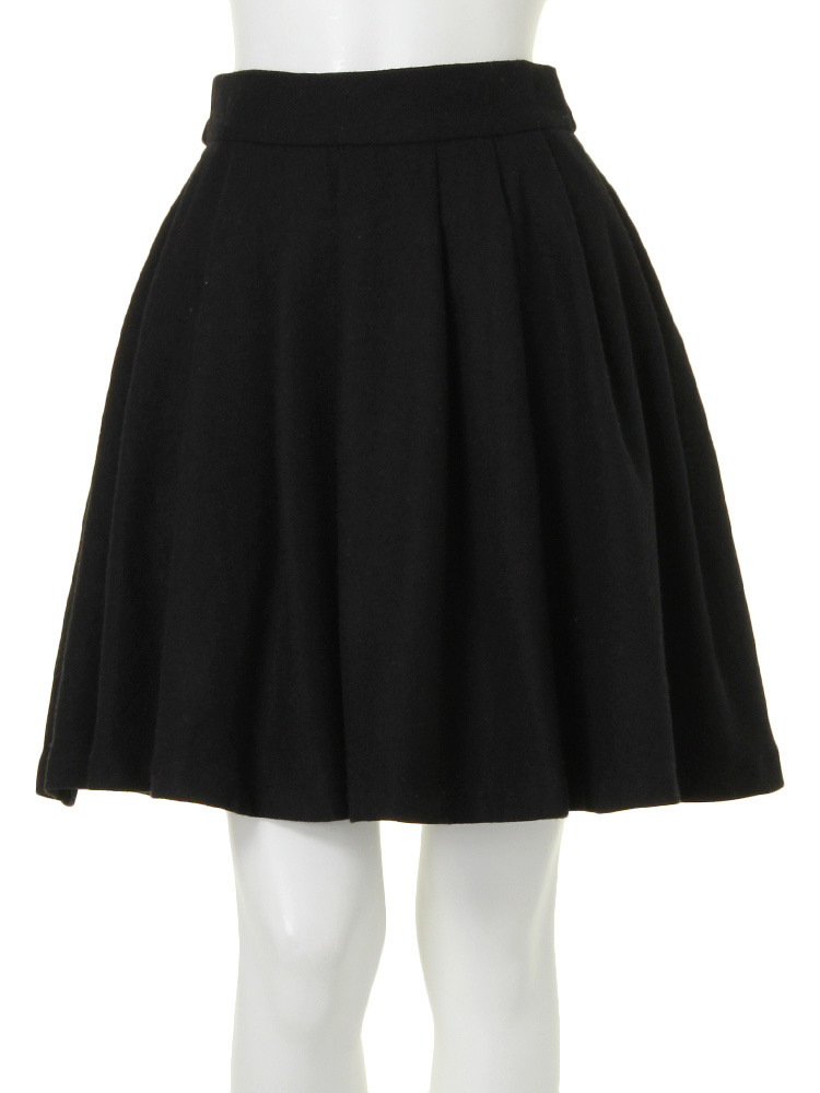 【W】バックリボンメモリースカート(ブラック-S)