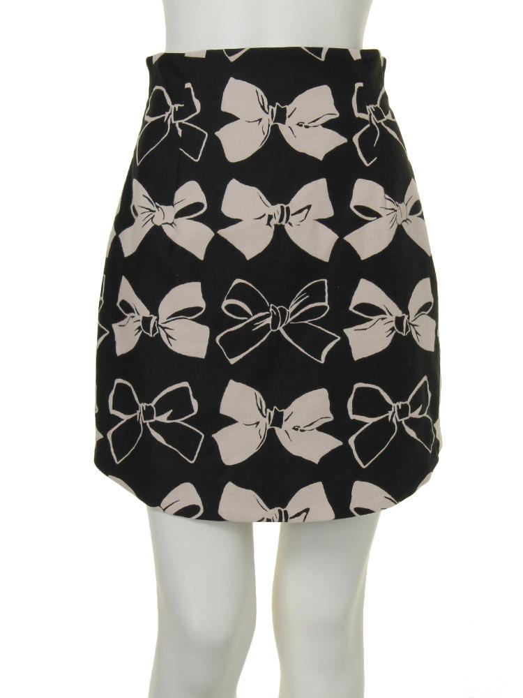 【dazzlin】リボンプリントコクーンスカート(ブラック-S)