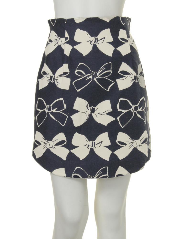 【dazzlin】リボンプリントコクーンスカート(ネイビー-S)