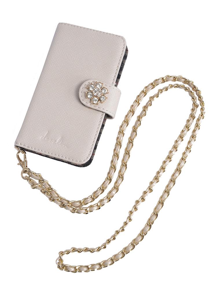 【goods】ビジュー付iphone6ケース(オフホワイト-F)