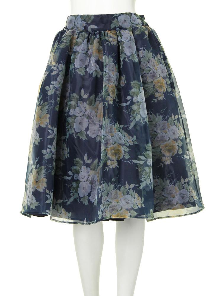 ブーケ花柄オーガンジースカート(ネイビー-S)