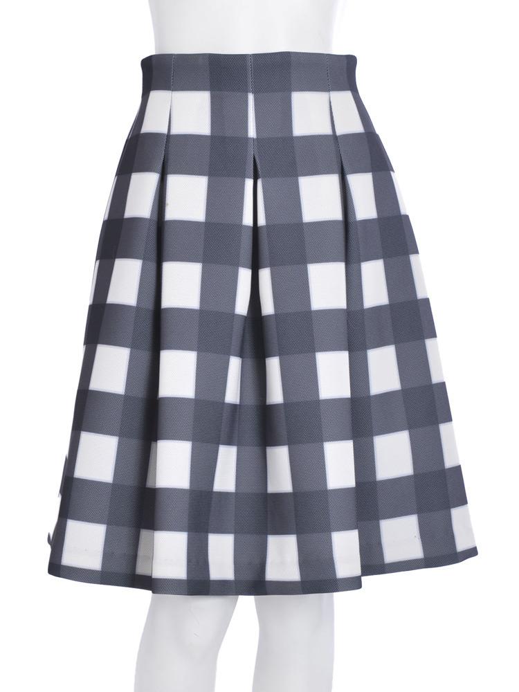 【R】チェックボンディングスカート(ブラック-S)