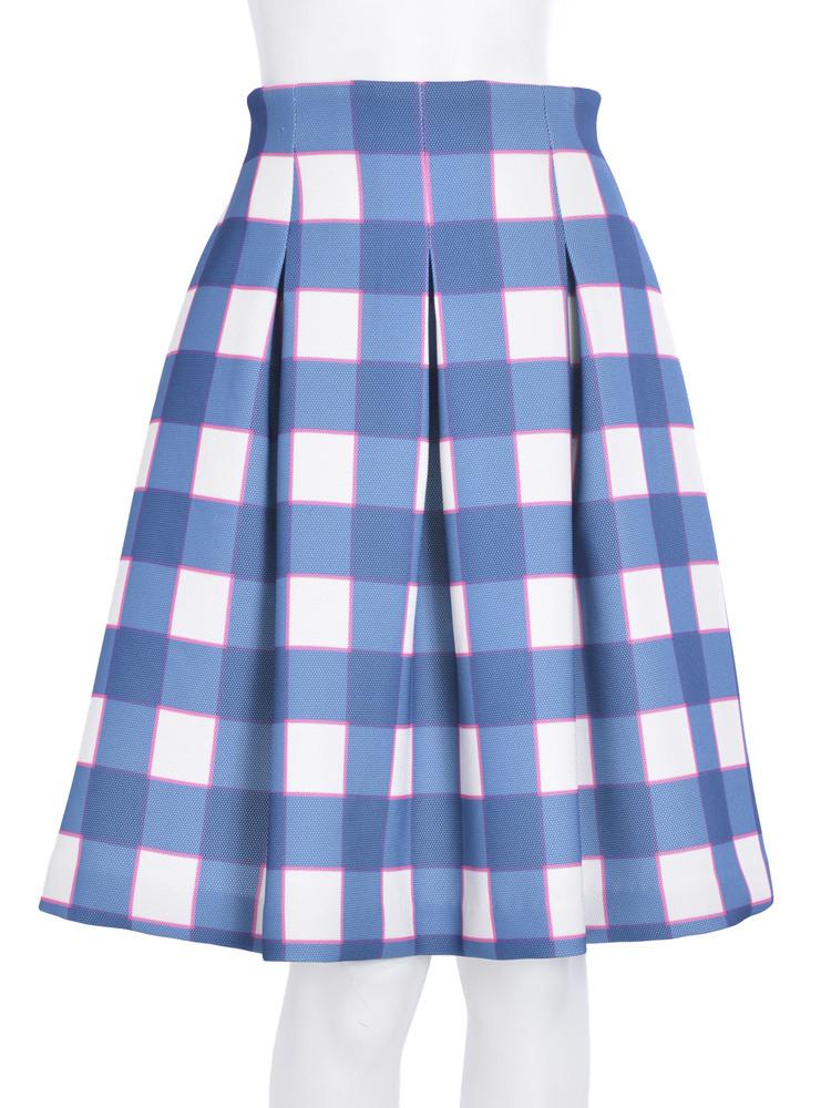 【R】チェックボンディングスカート(ブルー-S)