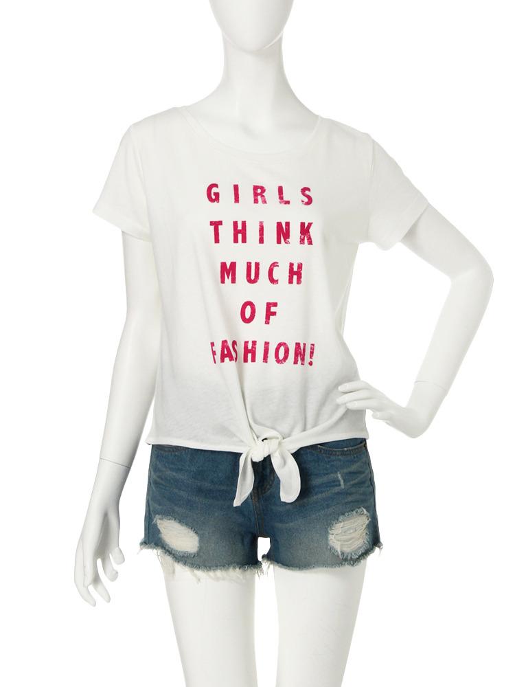 【R】前しばりロゴTシャツ(ピンク-F)