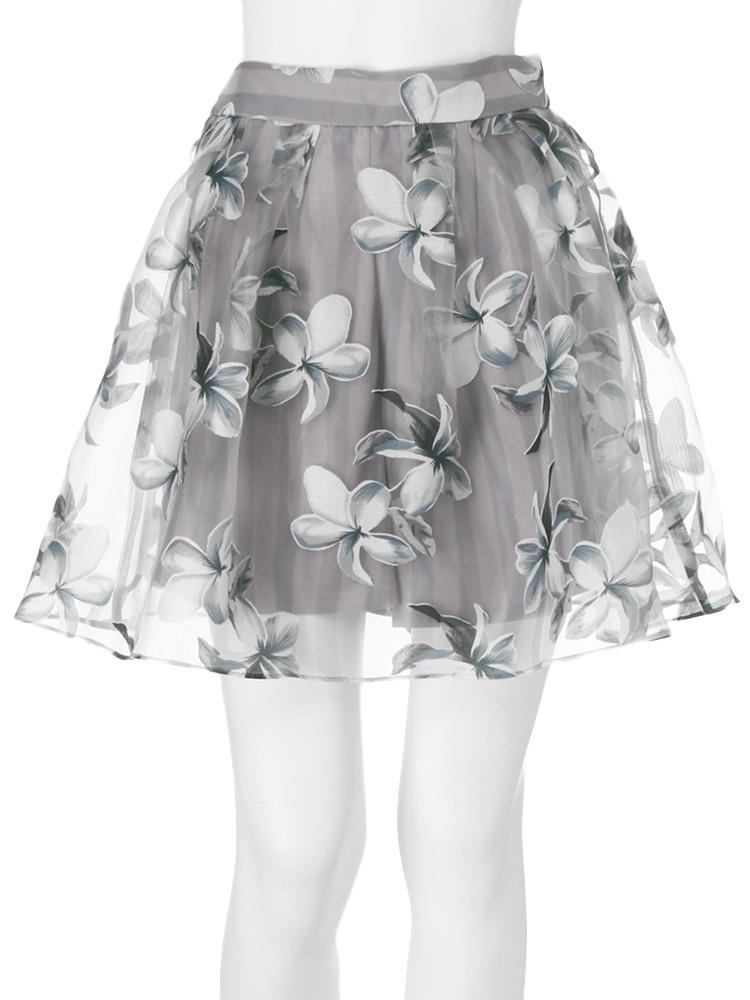 【dazzlin】ストライプ花柄オーガンジースカート(グレー-S)
