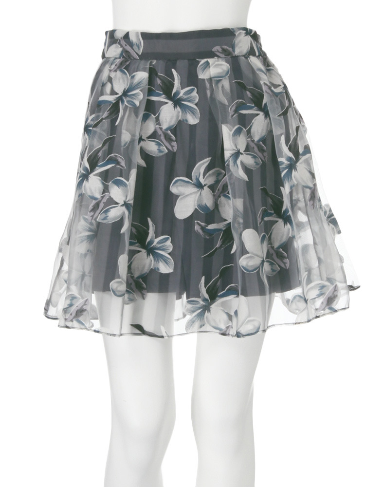 【dazzlin】ストライプ花柄オーガンジースカート(ネイビー-S)