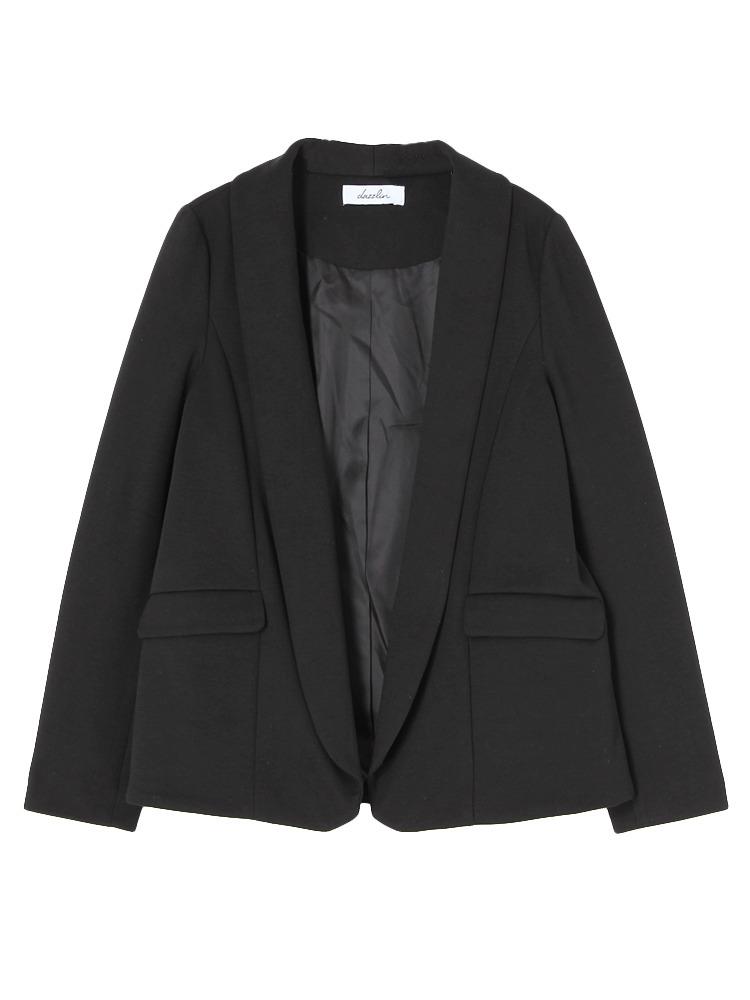 【dazzlin】ショールカラージャケット(ブラック-S)