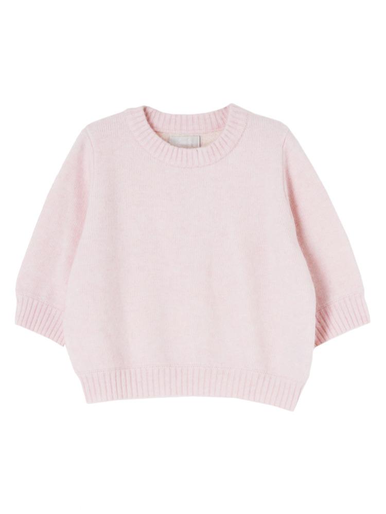 【W】アンゴラハーフスリーブトップス(ピンク-F)