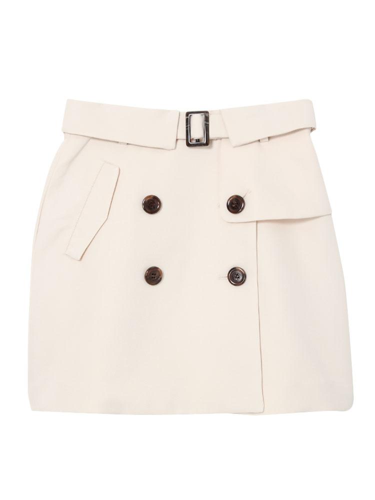【dazzlin】トレンチ風台形スカート(アイボリー-S)