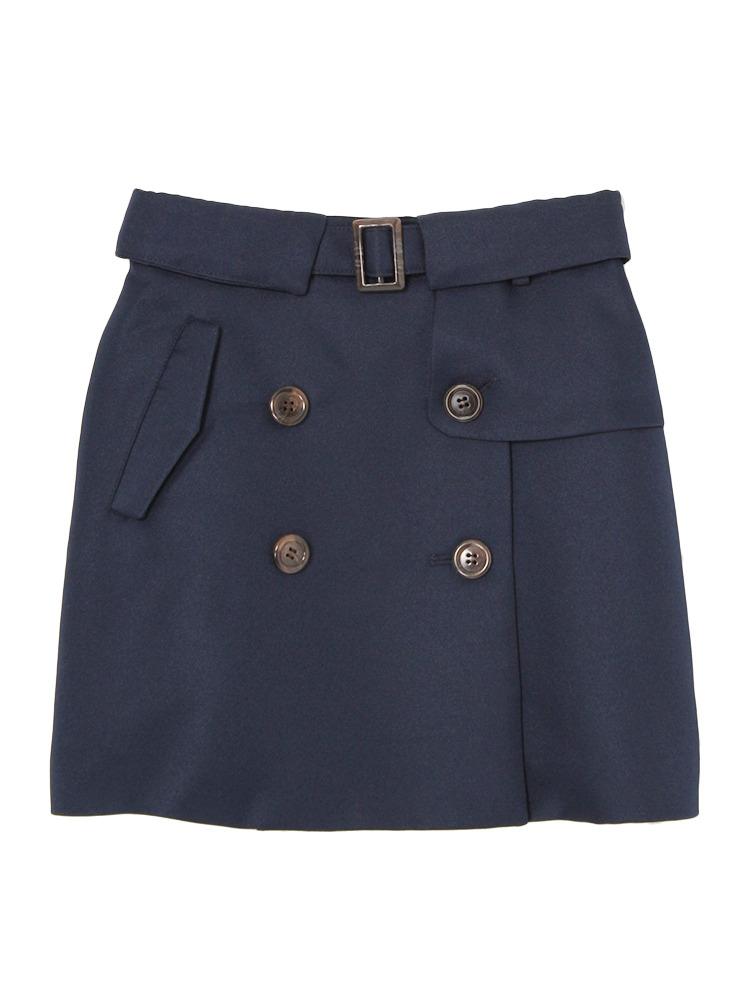 【dazzlin】トレンチ風台形スカート(ネイビー-S)