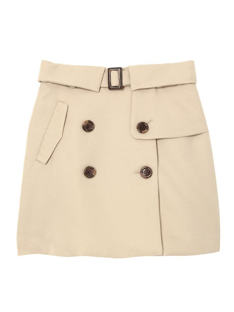【dazzlin】トレンチ風台形スカート(ベージュ-S)