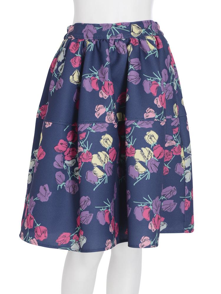 【dazzlin】チューリップ膝丈切替スカート(ネイビー-F)
