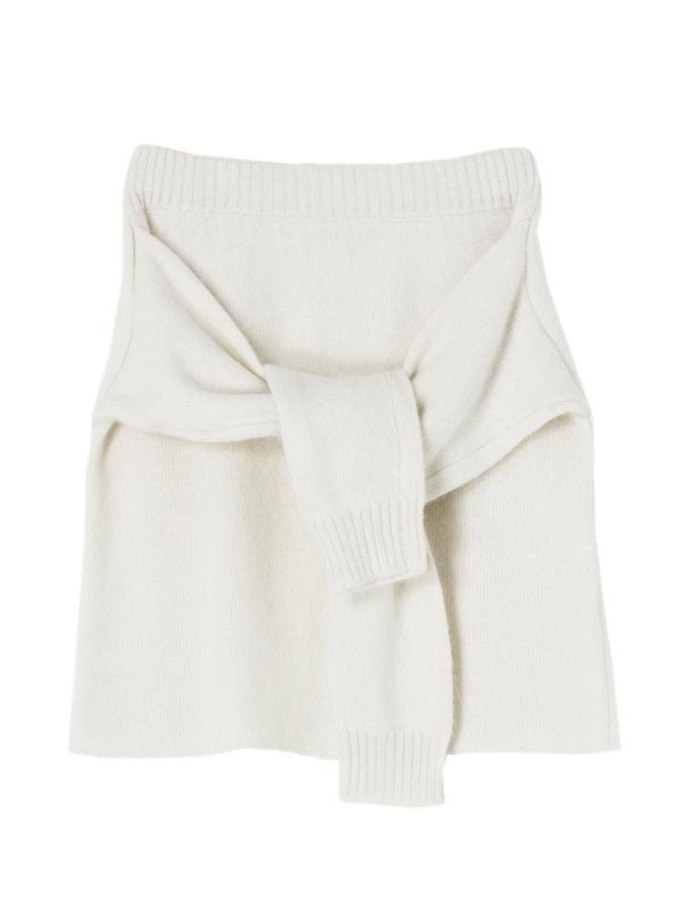 【W】腰巻き風アンゴラニットスカート(ホワイト-F)