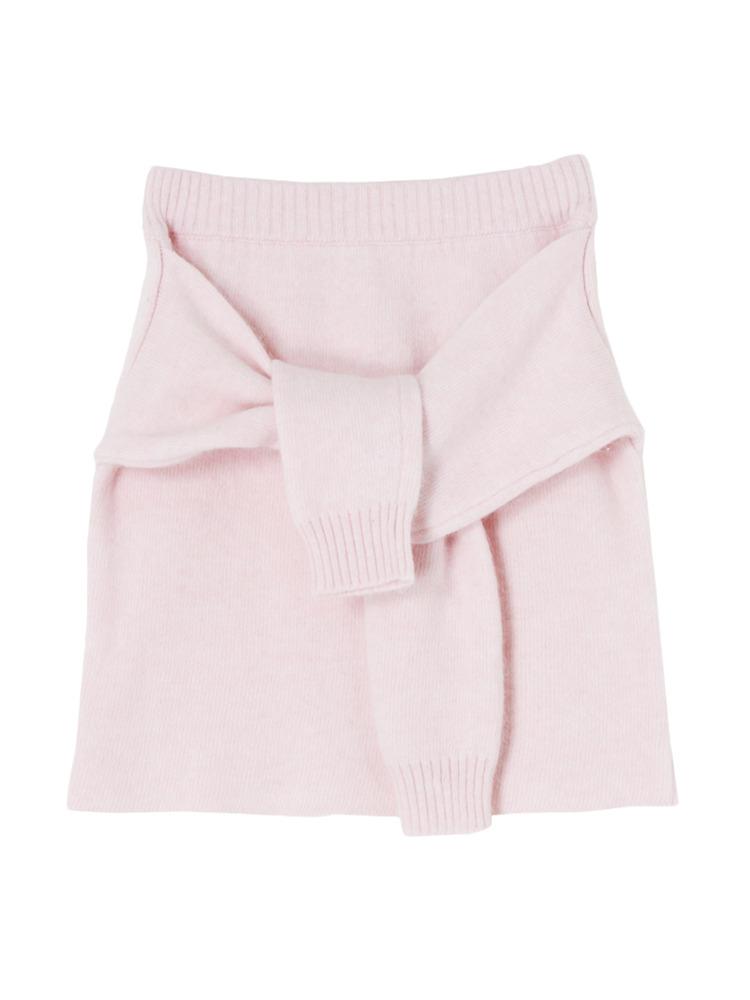 【W】腰巻き風アンゴラニットスカート(ピンク-F)