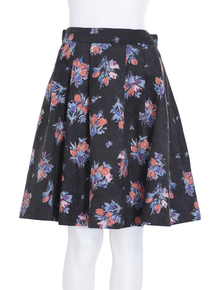 【dazzlin】チューリップコーデュロイスカート(ブラック-S)