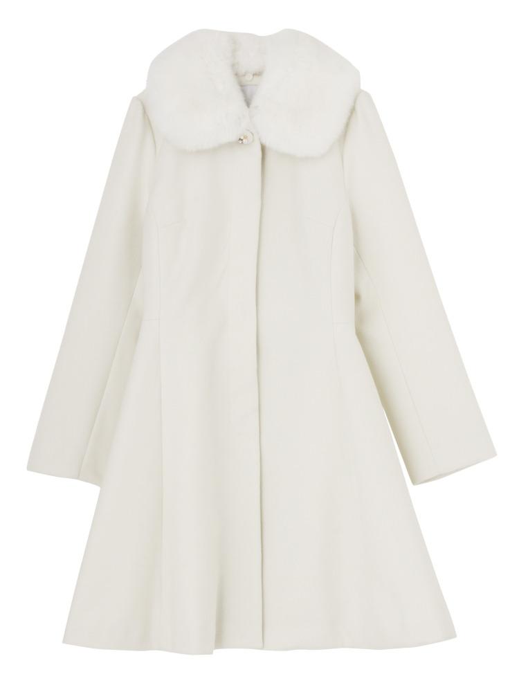 【sw】ファーティペット付DRESSコート(オフホワイト-S)