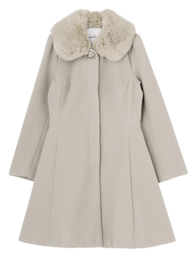 【sw】ファーティペット付DRESSコート(グレー-S)