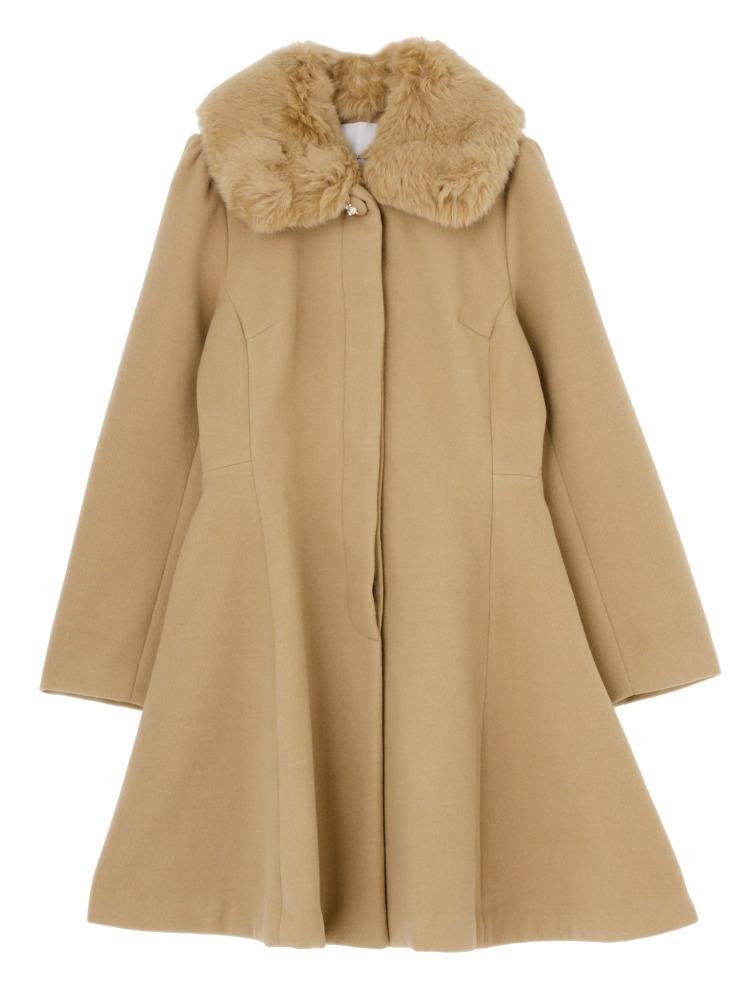 【sw】ファーティペット付DRESSコート(キャメル-S)
