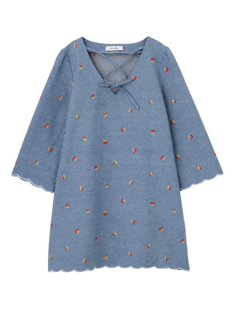 【sw】小花柄刺繍デニムワンピース(ブルー-S)