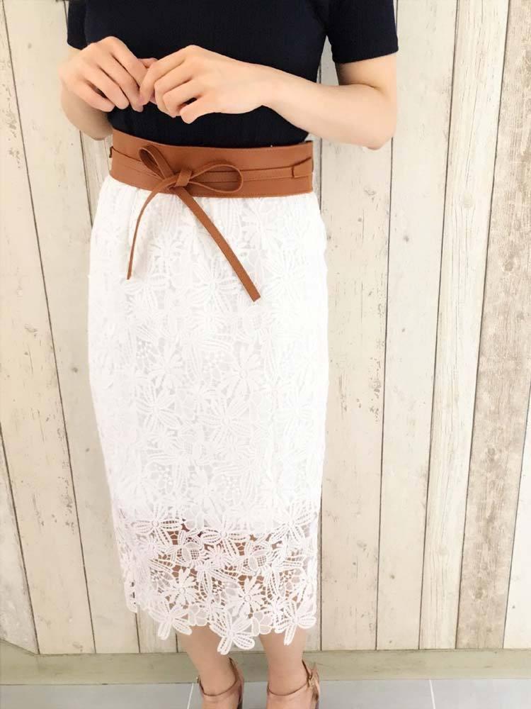 【sw】カラーレースタイトスカート