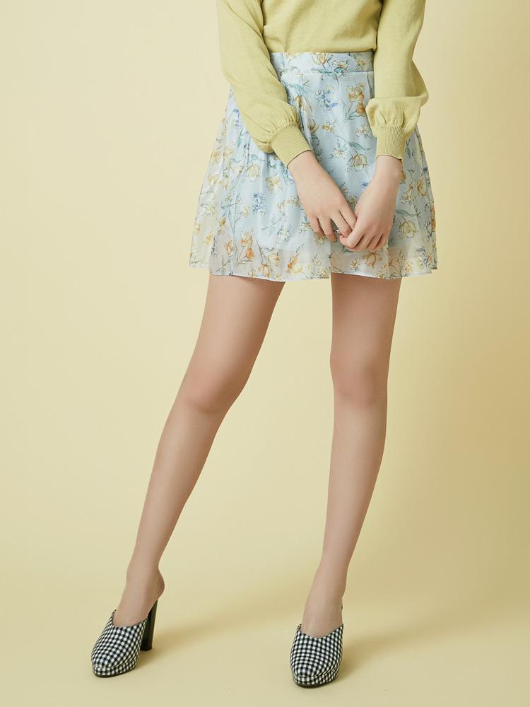 【sw】花柄シアーミニスカート