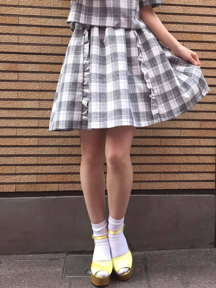 【sw】チェックフリルスカート