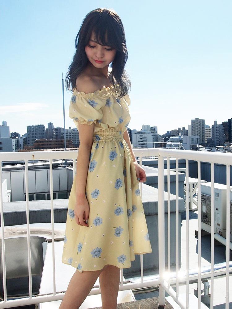 【sw】ドットマーガレットオフショルワンピース(58)99ネイビーF/dazzlinの画像