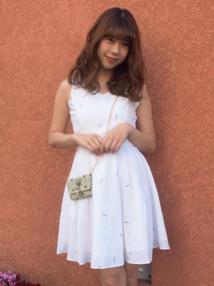 【sw】ストライプローズ刺繍ワンピース
