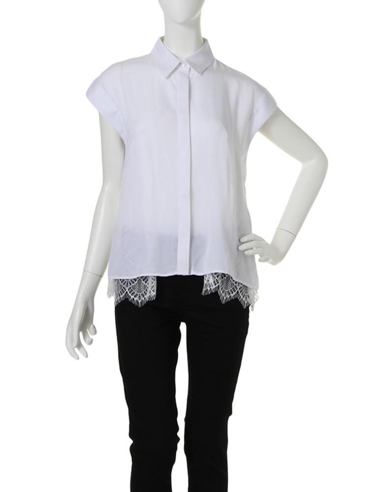【CHIC】レースレイヤードシャツ(ホワイト-F)