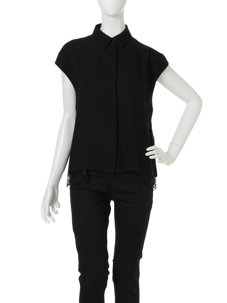 【CHIC】レースレイヤードシャツ(ブラック-F)