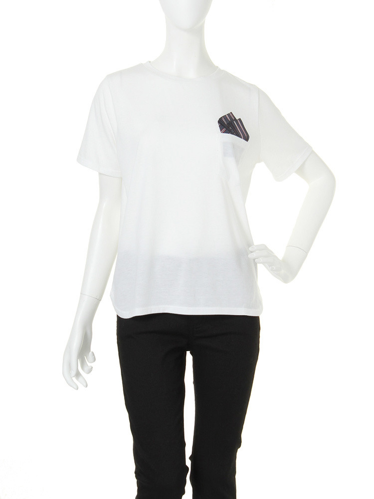 【CASUAL】pocketチーフTシャツ(ホワイト-F)